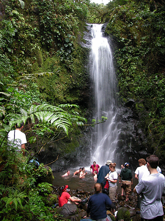 Students taking a break in a waterfall, Alberto Manuel Brenes Biological Reserve, Costa Rica.