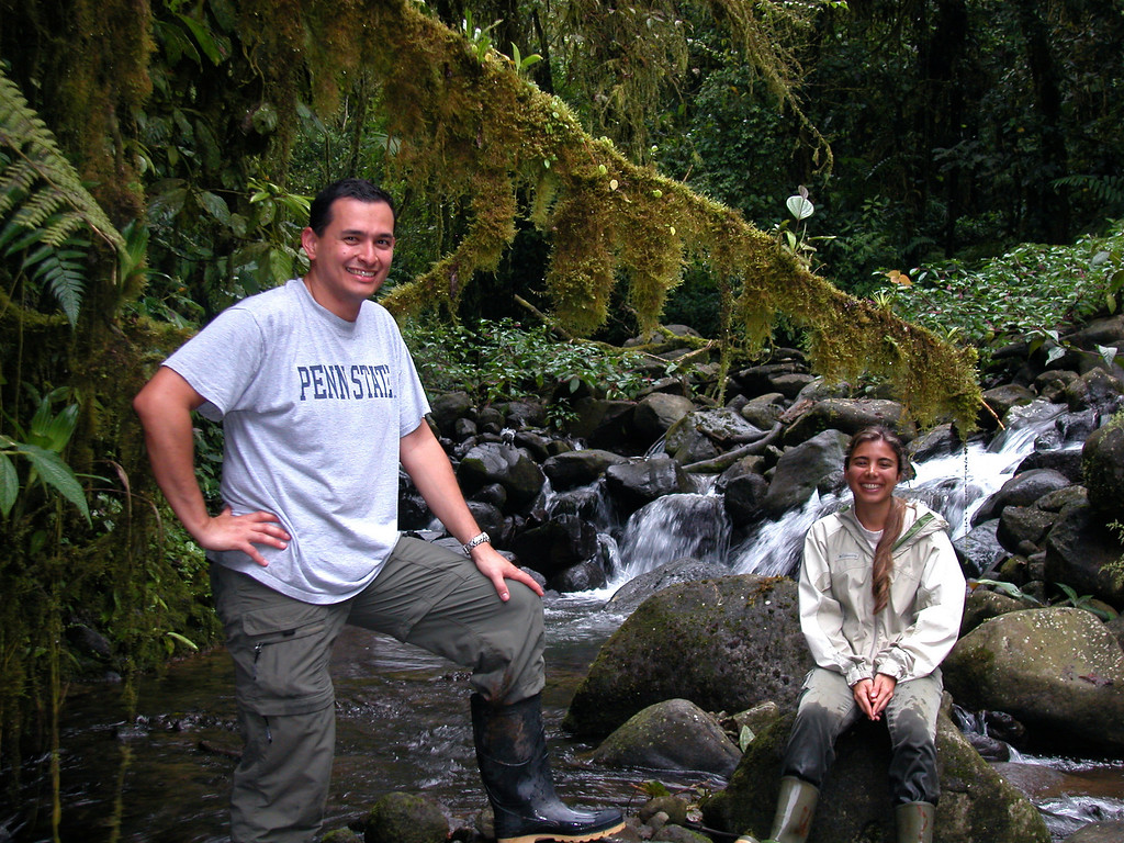 Jorge and Ramsa, teaching assistants, in the stream at Alberto Manuel Brenes Biological Reserve, Costa Rica