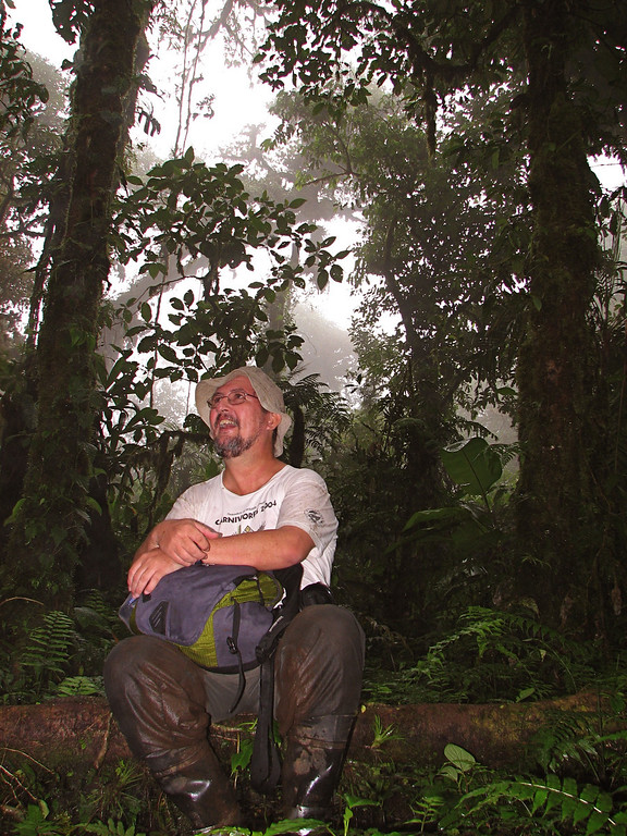 Eduardo Carrillo in the forest at Alberto Manuel Brenes Biological Reserve, Costa Rica.