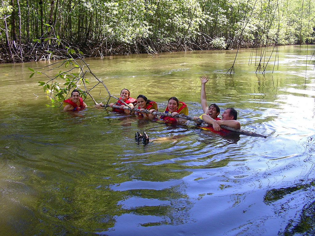 A quick dip in the mangrove estuary of the Sierpe river.