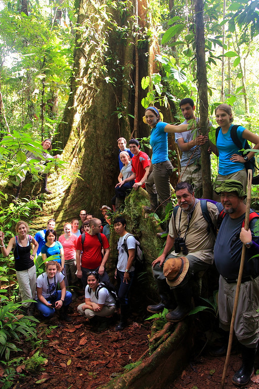 Penn State Biol 499 group photo at the huge buttress tree (Dussia macrophyllata), Campanario, Osa Peninsula, Costa Rica