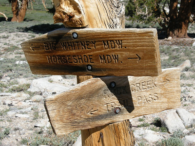 Trail junction signpost at Cottonwood Pass. I was heading north to Rock Creek and beyond.