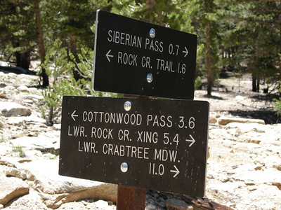 Inside the boundary of Sequoia National Park, and the trail signs are metal. My route this day was to go slightly beyond Crabtree Meadow.