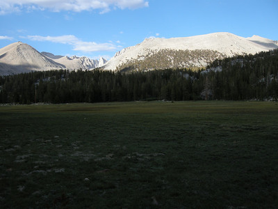 Lower Crabtree Meadow. The trail curls around the lefthand (western) edge; I struck out to the east cross-country.