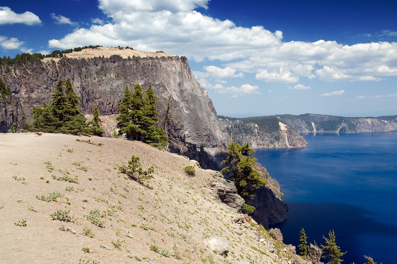 Crater Lake and Llao Rock on the west side of Crater Lake, OR. Looking toward the north in this photo.<br /> ND70_2006-07-26DSC_6007-CraterLakeMerriamPointPan1of4-2 copy.jpg