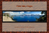 Crater Lake Panorama photo of 6007, 6008, 6009, 6010 taken at Crater Lake, Oregon July 26, 2006. Photo taken on the west side of the lake near the North Rim entrance near Merriam Point, Llao Rock on the left side of the photo, center of lake looking toward the east. This photo makes it appear that one could fall right off the edge into Crater Lake. Actually, this is very, very possible since there were no guardrails or fences anywhere near us. It was at least a 1000 foot drop to the lake!<br /> <br /> Panorama created by combining four photos into one using Photomerge in Adobe Photoshop Elements 4.0.<br /> <br /> Thanks to photoshopelementsuser.com for the frame and background suggestions.<br /> <br /> Copyright © 2006 Rick Kruer rickkruer.com