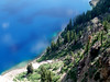 Eileen's beautiful photo of the south shore of Crater Lake taken from the Sinnot Memorial Outlook. The lake is mostly a beautiful, clear, clean deep blue, with patches of bright green water in places near the shoreline.<br /> <br /> P7260527-CraterLakeGreenWaterEdge-2 copy.jpg