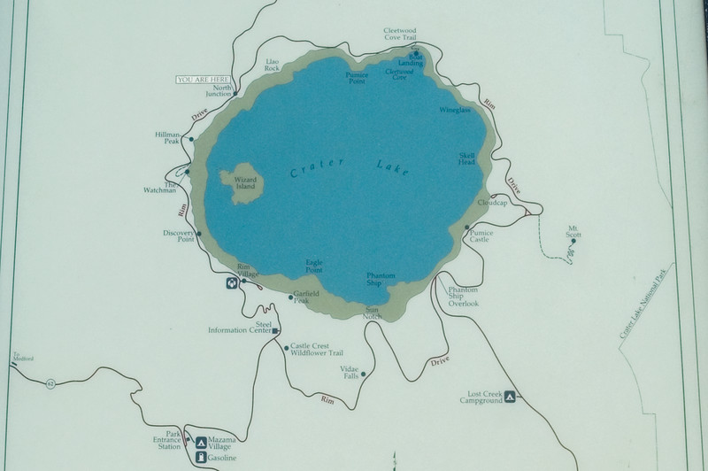 """Closeup photo of the sign with map of the Crater Lake North Entrance on the Rim Drive.<br /> <br /> Larger version of the map is available here: <a href=""""http://rickkruer.com/photos/89132500-O.jpg"""">http://rickkruer.com/photos/89132500-O.jpg</a><br /> <br /> ND70_2006-07-26DSC_5968-SignCraterLakeRimDriveNearNorthEntrance-3.jpg"""