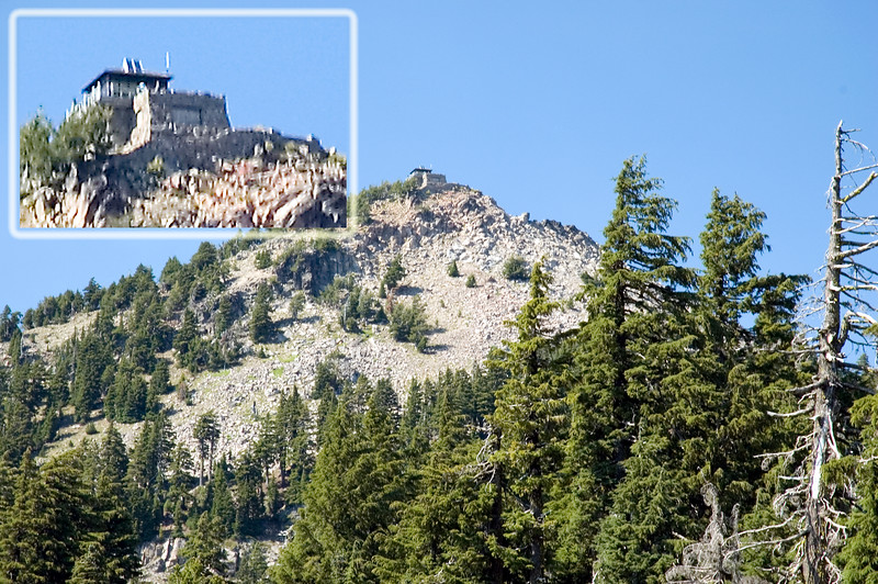 The house on the mountain called the Watchman near Hillman Peak on the west edge of Crater Lake (possibly a USGS or National Park Service ranger station) taken from the north side looking south in this photo.<br /> <br /> ND70_2006-07-26DSC_6107-HouseOnCliff-3 copy.jpg