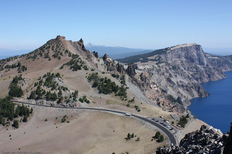 Crater Lake and Hillman Peak from The Watchman, Crater Lake National Park, Oregon<br /> <br /> Looking down at Watchman Overlook and the Rim Drive, with Hillman Peak behind.