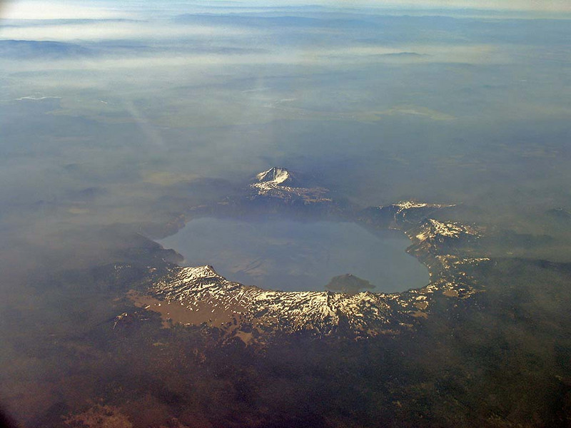 View of Crater Lake, Oregon from the air; July 2, 2005