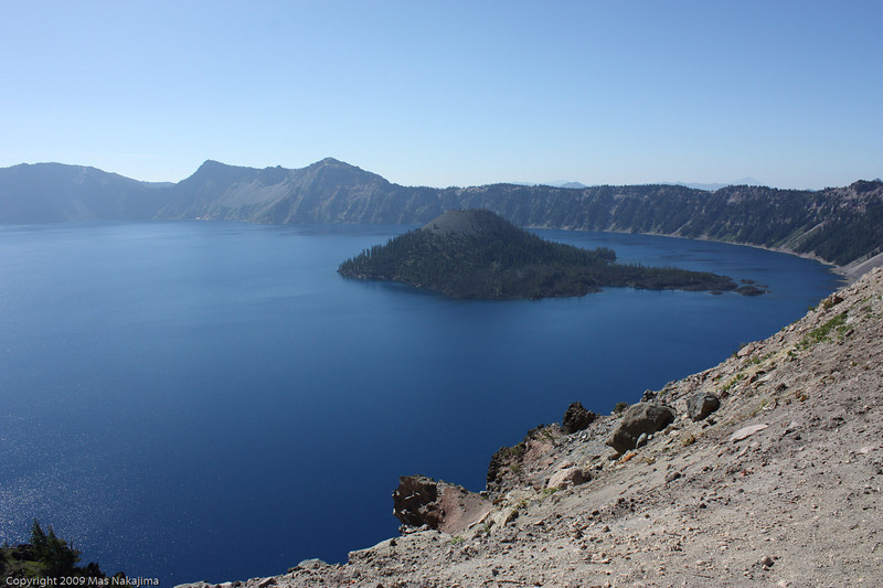 Crater lake from North Junction, Crater Lake National Park, Oregon<br /> <br /> This is the first view of the lake and of Wizard Island, a cinder cone within the caldera.