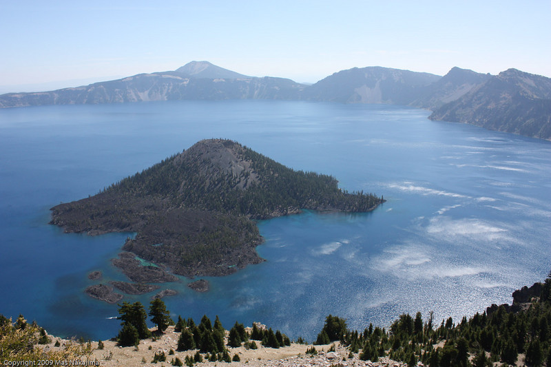 Crater Lake from The Watchman, Crater Lake National Park, Oregon<br /> <br /> We climbed up to the fire watch station known as the The Watchman, which gives a magnificent overview of the crater lake and surrounding forests and mountains.