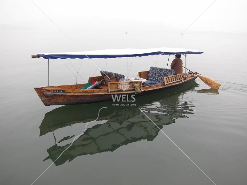 Boat reflections, West Lake, Hangzhou, Zhejiang Province, China by kstellick