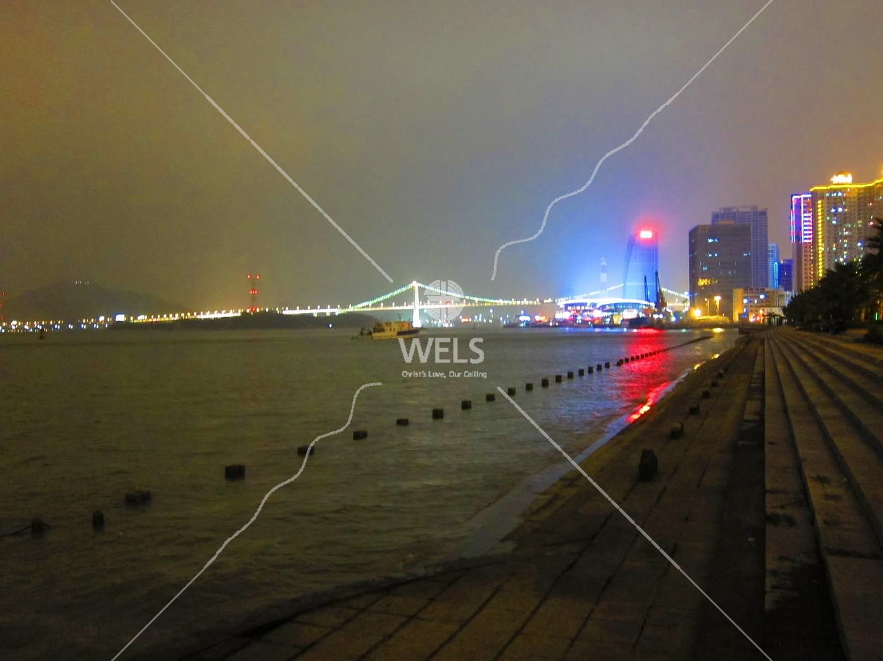 Night view on shoreline,  Xiamen, Fujian Province China  by kstellick