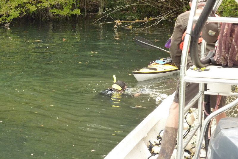Keith Ramos assists with rescue operations. Manatee had a fishing lure stuck in its mouth.