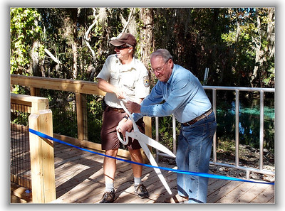 Ribbon cutting for the new boardwalk at Three Sisters Spring