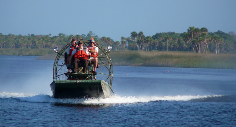 Airboat approaching Dog Island