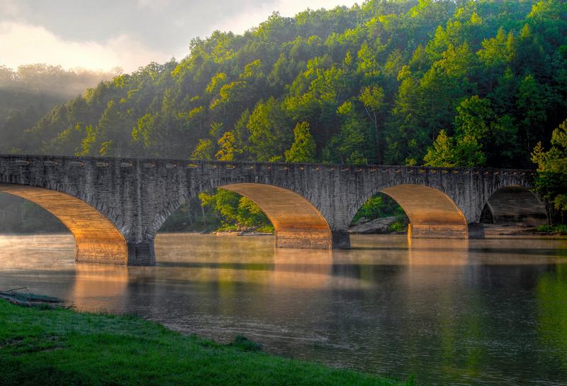 7 image HDR stack of the Bridge at Cumberland Falls