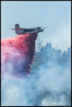 CAL FIRE S-2T #70 making a retardant drop on the Green Fire in Rancho Cuyamaca State Park.