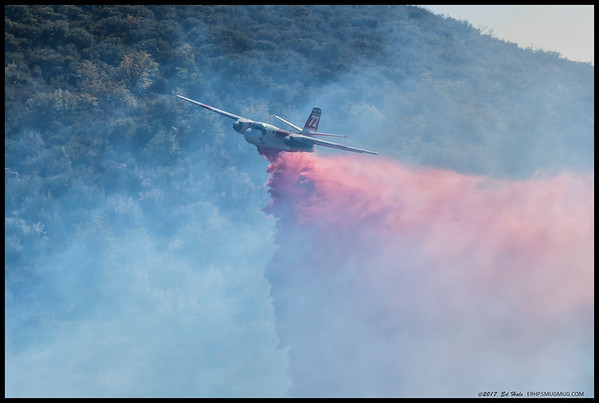One of the dozen runs CAL FIRE planes took dropping fire retardant to limit the spread of the Green Fire at Rancho Cuyamaca State Park.