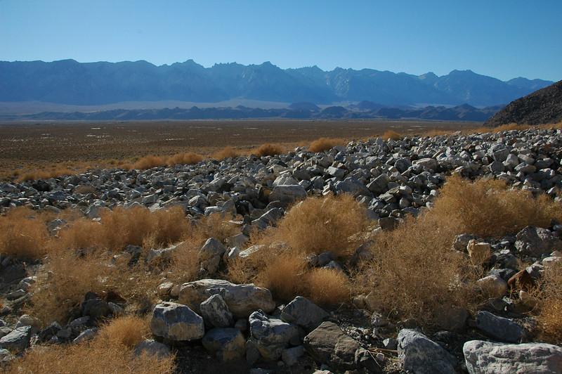 Debris flow deposits on Dolomite Fan;  Sierra Nevada in the background