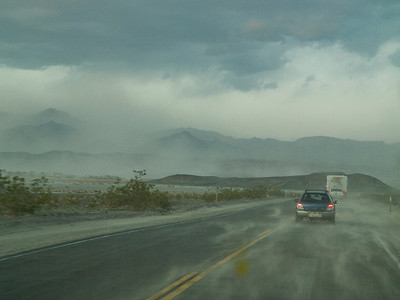 Dust storm in Death Valley when we arrived over Towne Pass