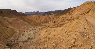 View along old mining railroad bed (panorama)
