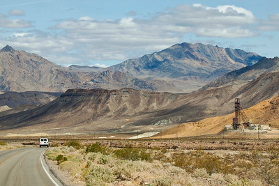 An SJSU van, the Billie mine (far right), and the landscape.  I'm amazed at how good the image quality is on this, given that it was taken through the windshield of a moving vehicle.
