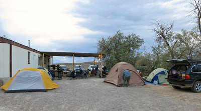 Camp by the DV Natural History Assoc. trailer in Cow Creek.  The yellow & white tent on the left is mine.