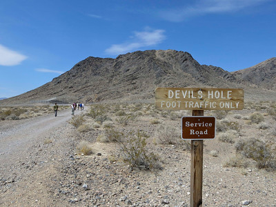 The path to Devil's Hole (you can see the fenced-off pupfish habitat in the background on the left).