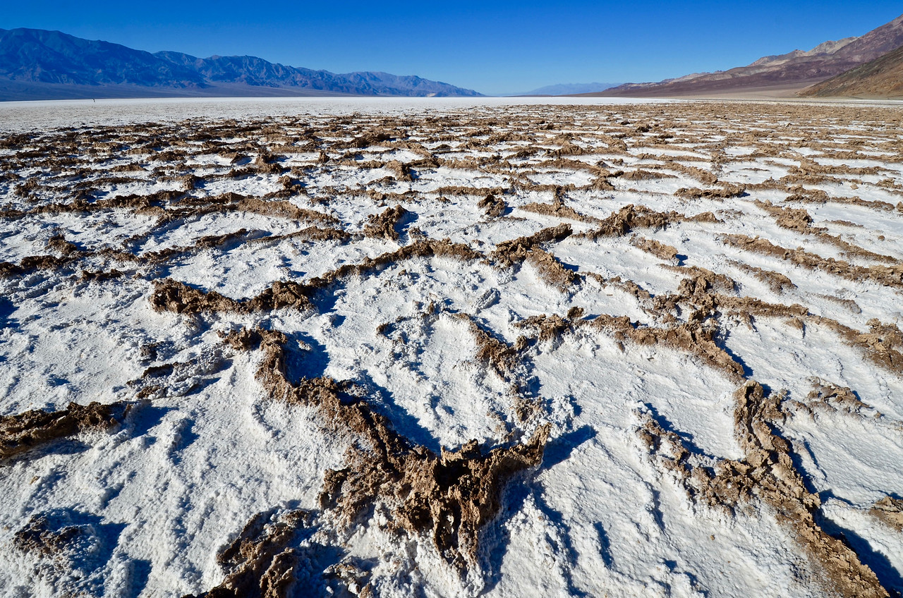Polygonal patterns in salt and mud at Badwater