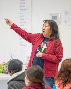 Barbara Durham of the Timbisha Shoshone talks to the group