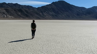 Walking across the playa to the other side, with the wind before us.