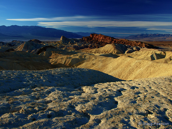 The hills near Zabriskie point, Death Vally National Park are seen in late afternoon light.