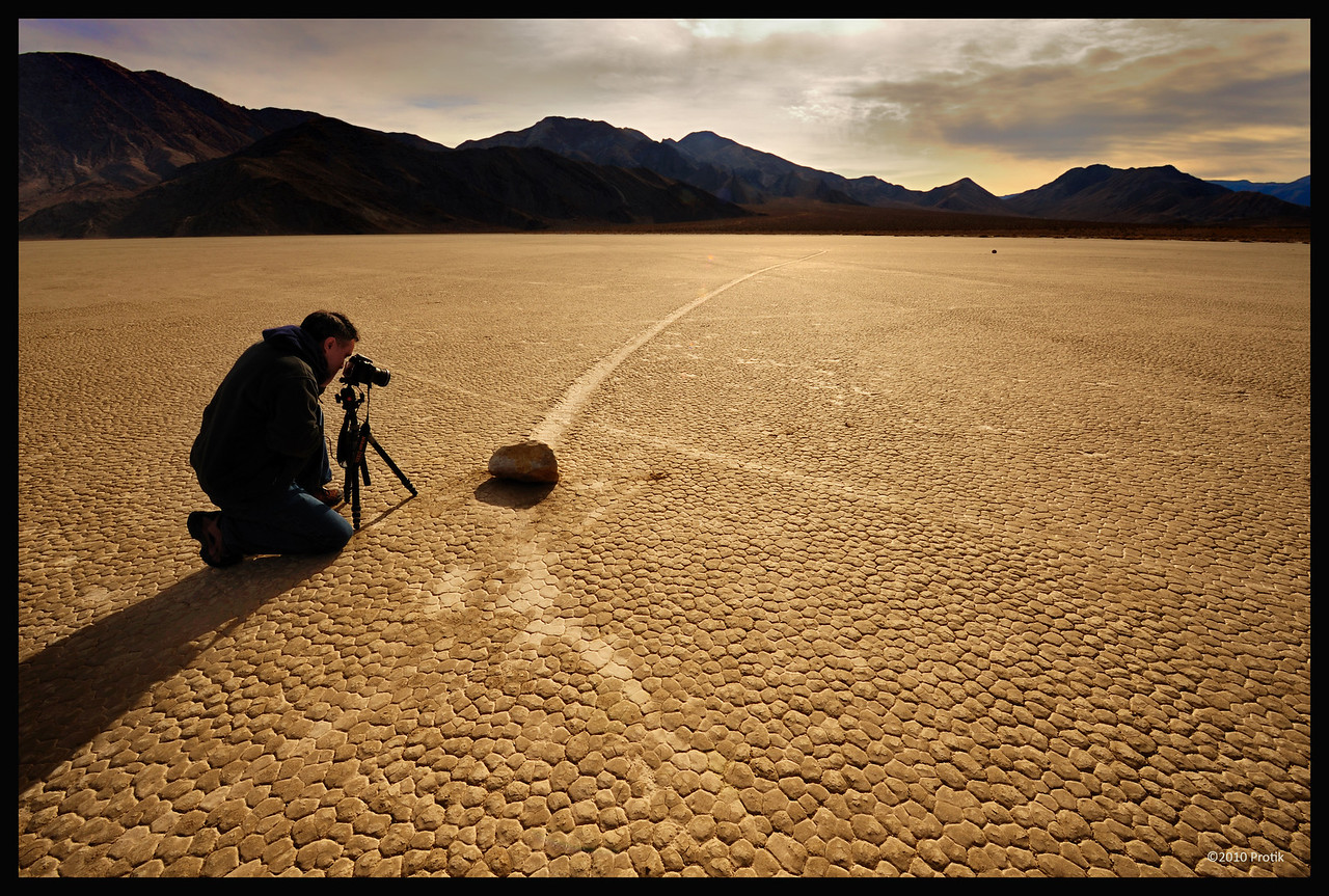 """Ruhul bhai in action.<br /> More info about Racetrack playa here: <a href=""""http://en.wikipedia.org/wiki/Racetrack_Playa"""">http://en.wikipedia.org/wiki/Racetrack_Playa</a>"""