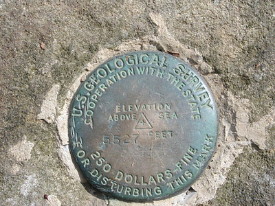 Benchmark on Thunderhead<br /> 5,527 ft high