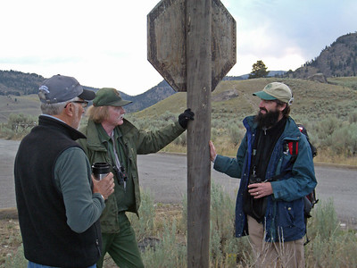 Dave, volunteer with Yellowstone Association, and two leading wolf experts: Rick McIntyre, National Park Service, Nathan Varley, wildlife biologist