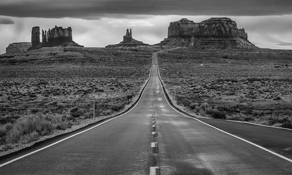 The road to Monument Valley from Mexican Hat, UT
