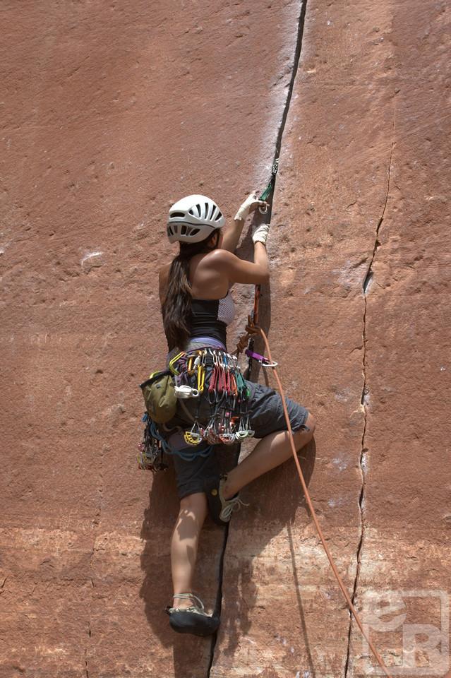 Crack climbing in Utah