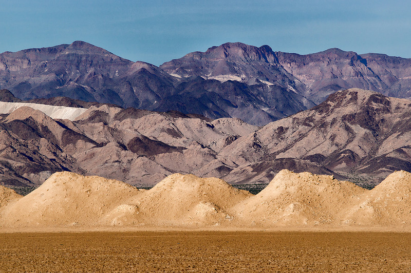 Mojave dry lake saltworks and Bristol Mountains.