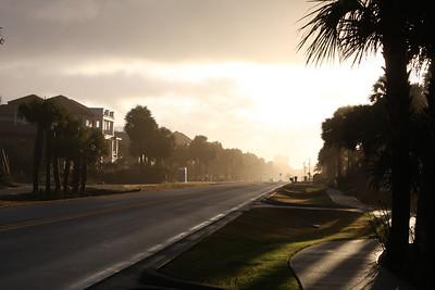 Sunrise along a road near the beach in Destin.