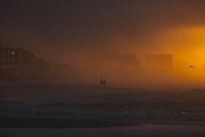 Sunrise on a misty windy day