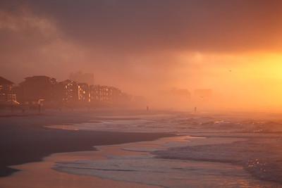 Sunrise on a misty windy morning.