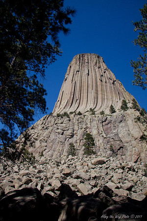 Devils tower 7918<br /> In 1906 Devils Tower became the First National Monument. Located in Wyoming, Devils Tower is also a religious site for the American Indians.  It rises 1,280 feet above the valley floor.