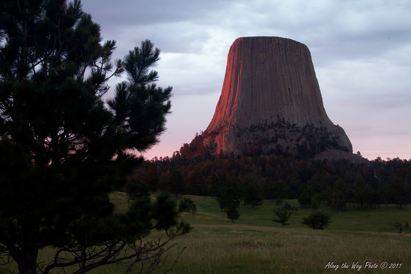 Devils Tower 8028<br /> Sun hitting the side of Devils Tower. In 1906 Devils Tower became the First National Monument. Located in Wyoming, Devils Tower is also a religious site for the American Indians.  It rises 1,280 feet above the valley floor.
