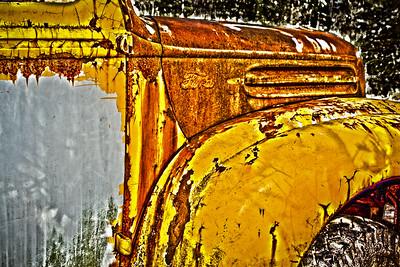 Antique rusty car hood