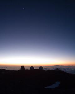 Sunset with crescent moon on Mauna Kea