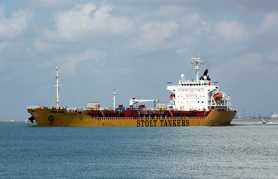 Stolt Tanker.  Notice the two Dolphins in its bow wake