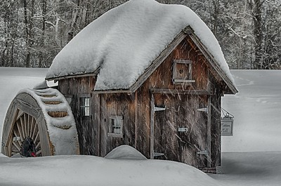 Snowy Mill in HDR